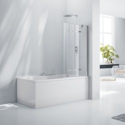Elegance Aquaglass+ 6mm Frameless 4 Fold Bath Screen