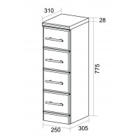 Elegance Aquachic 250 Gloss White 4 Drawer Unit image