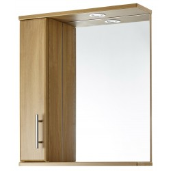 Elegance Aquachic 600 Natural Oak Mirrored Wall Unit