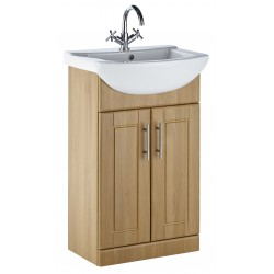 Elegance Aquachic 500 Natural Oak Base Unit And Basin
