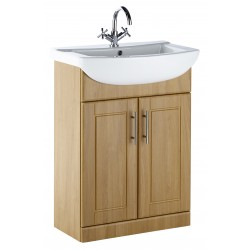 Elegance Aquachic 600 Natural Oak Base Unit And Basin