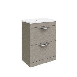 Hudson Reed Memoir 600mm 2 Drawer Floor Mounted Basin & Cabinet - Blonde Oak - CAB171