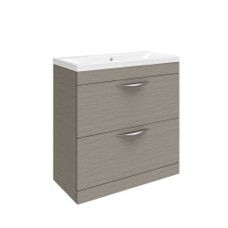 Hudson Reed Memoir 800mm 2 Drawer Floor Mounted Basin & Cabinet - Blonde Oak - CAB175