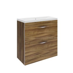 Hudson Reed Memoir 800mm 2 Drawer Floor Mounted Basin & Cabinet - Gloss Walnut - CAB176