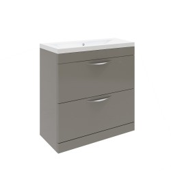 Hudson Reed Memoir 800mm 2 Drawer Floor Mounted Basin & Cabinet - Gloss Cashmere - CAB177
