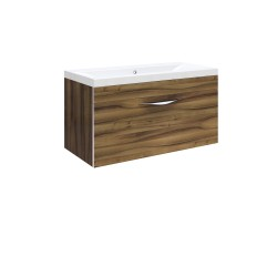 Hudson Reed Memoir 800mm 1 Drawer Wall Mounted Basin & Cabinet - Gloss Walnut - CAB184