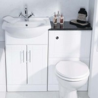 Elegance Aquachic High Gloss White 550 WC Unit & Basin Including Cistern image