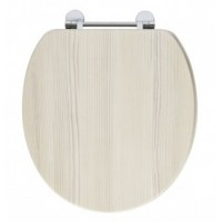 Elegance Avola White Wooden Toilet Seat With Chrome Fittings image