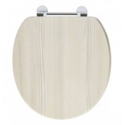 Elegance Avola White Wooden Toilet Seat With Chrome Fittings