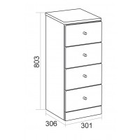 Elegance Aquapure 1 Gloss White 4 Drawer Base Unit image
