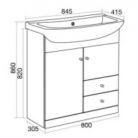 Elegance Aquapure 1 Gloss White 850 Drawer Unit image