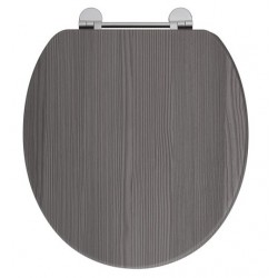 Elegance Avola Grey Wooden Toilet Seat With Chrome Fittings