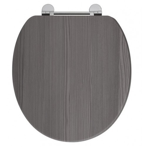 Elegance Avola Grey Wooden Toilet Seat With Chrome Fittings image