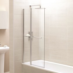Elegance Prestige Identiti2 Fixed Panel Square Bath Screen With Towel Rail And Shelf
