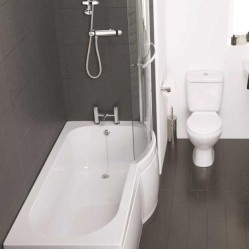 Elegance Waterfall 1500 X 700mm Tungstenite Right Hand Shower Bath