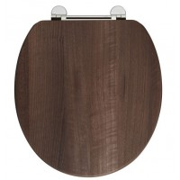 Elegance Dark Walnut Wooden Toilet Seat With Chrome Fittings image