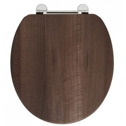 Elegance Dark Walnut Wooden Toilet Seat With Chrome Fittings