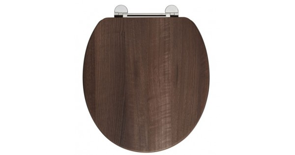 Elegance Dark Walnut Wooden Toilet Seat With Chrome Fittings | Toilet Seats  | Splashe.co.uk