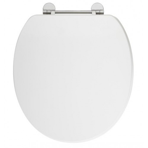 Elegance Gloss White Wooden Toilet Seat With Chrome Fittings image