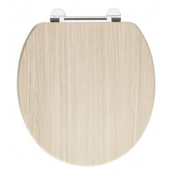Elegance Light Oak Wooden Toilet Seat With Chrome Fittings