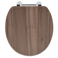 Elegance Walnut Wooden Toilet Seat With Chrome Fittings image