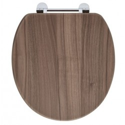 Elegance Walnut Wooden Toilet Seat With Chrome Fittings