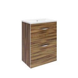 Hudson Reed Memoir 600mm 2 Drawer Floor Mounted Basin & Cabinet - Gloss Walnut - CAB172