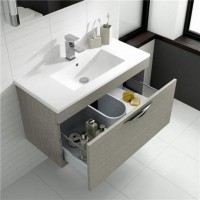 Hudson Reed Memoir 600mm 1 Drawer Wall Mounted Basin & Cabinet - Blonde Oak - CAB179 image