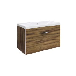 Hudson Reed Memoir 600mm 1 Drawer Wall Mounted Basin & Cabinet - Gloss Walnut - CAB180