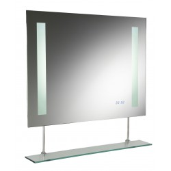 Hudson Reed Visage Backlit Mirror With De-Mister Pad, Clock And Motion Sensor