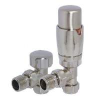 Reina Stylish Angled Thermostatic Valves with Lockshield, Pair, 15mm image