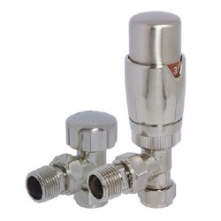 Reina Stylish Angled Thermostatic Valves with Lockshield, Pair, 15mm