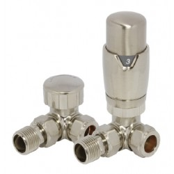Reina Stylish Corner Thermostatic Valves with Lockshield, Pair, 15mm