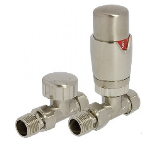 Reina Stylish Straight Thermostatic Valves with Lockshield, Pair, 15mm image