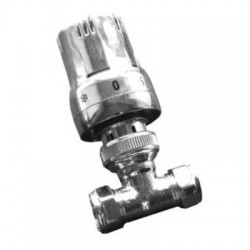Reina Windsor Straight Thermostatic Valve with Lockshield, Chrome, 15mm
