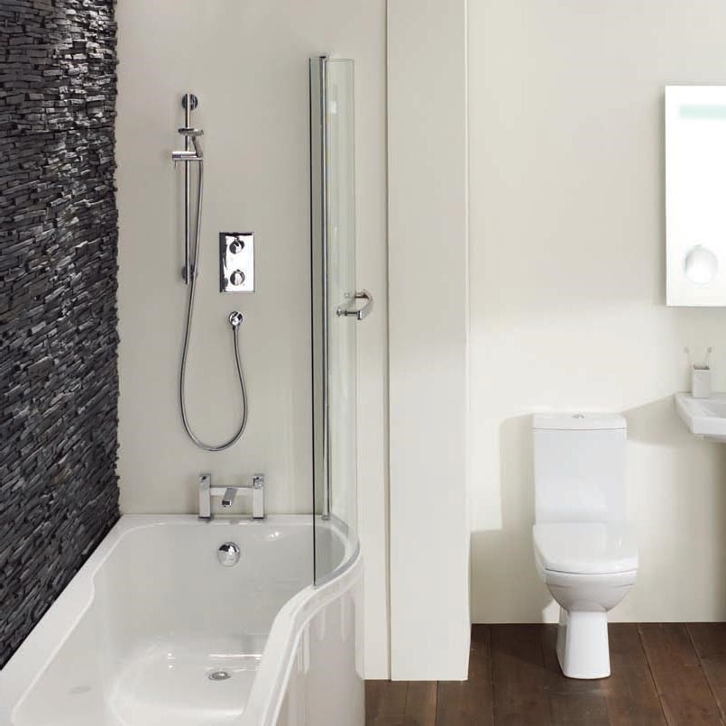Elegance Luxury P Shape 1700 X 700mm Right Hand Shower Bath   Shower ...